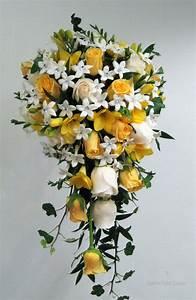 yellow white rose stephanotis cascade bridal wedding ...