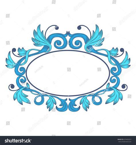 vintage floral frame oval ellipse decorative stock vector