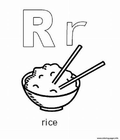 Coloring Pages Rice Printable Alphabet Template