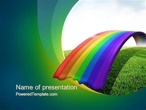 rainbow bridge powerpoint template  poweredtemplatecom