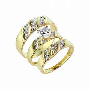 gold cz 3 piece wedding ring set With 3 ring set wedding rings