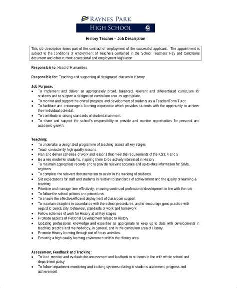 teacher job descriptions  sample