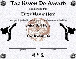 award certificate templates With taekwondo certificate templates