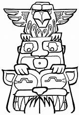 Totem Pole Coloring Pages Template Poles Drawing Printable Easy Designs Clipart Colouring Drawings Native American Outline Symbols Tiki Animals Clip sketch template
