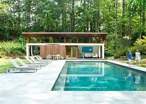 modern cabana pool with skillion roof metal outdoor chaise