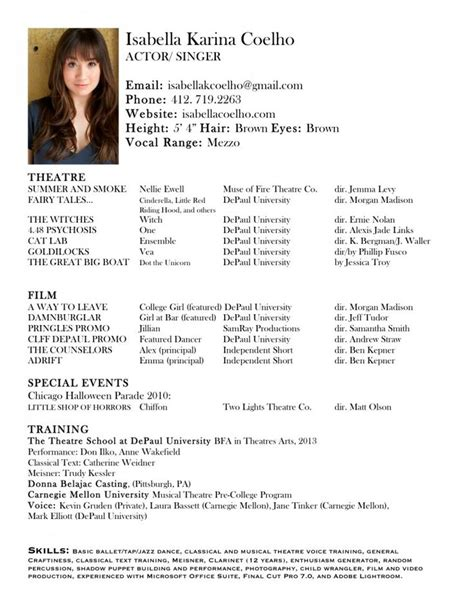 18489 theatrical resume template 1000 ideas about acting resume template on