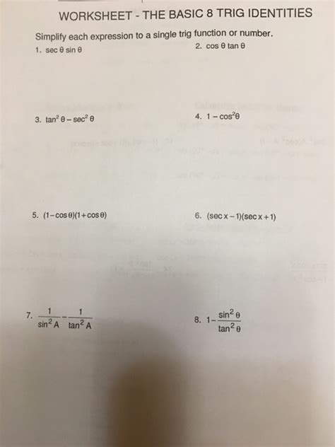 solved worksheet the basic 8 trig identities simplity e
