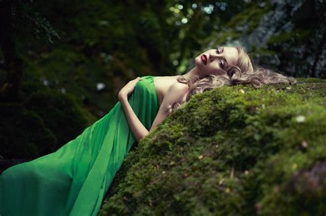 women, Model, Blonde, Long hair, Nature, Women outdoors, Dress, Open mouth, Rock, Trees, Green ...