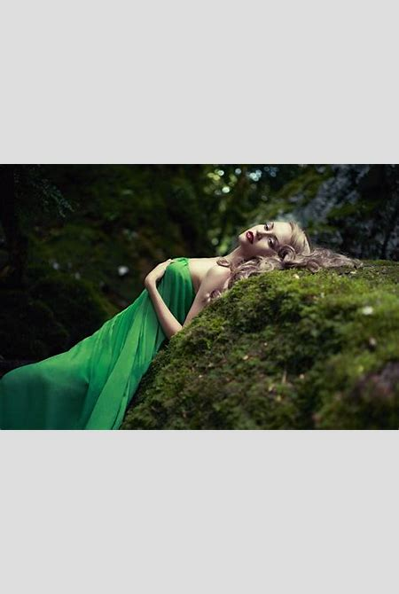 women, Model, Blonde, Long hair, Nature, Women outdoors, Dress, Open mouth, Rock, Trees, Green ...