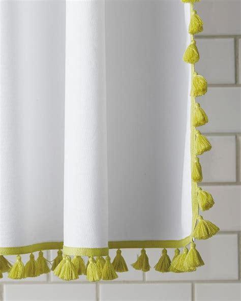 yellow  white french tassel shower curtain