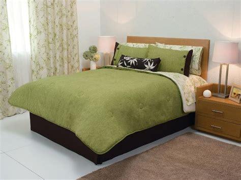 Olive Green Beige Black Palms Leaves Comforter Bedding