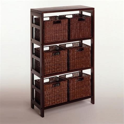 storage bookcase with baskets its three sections hold the espresso large storage basket