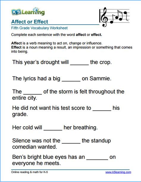 grade 5 affect vs effect vocabulary worksheet math and