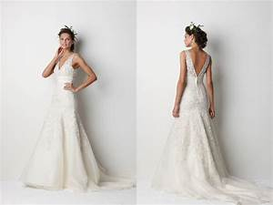 romantic v neck lace wedding dress with deep v back With v neck lace wedding dress
