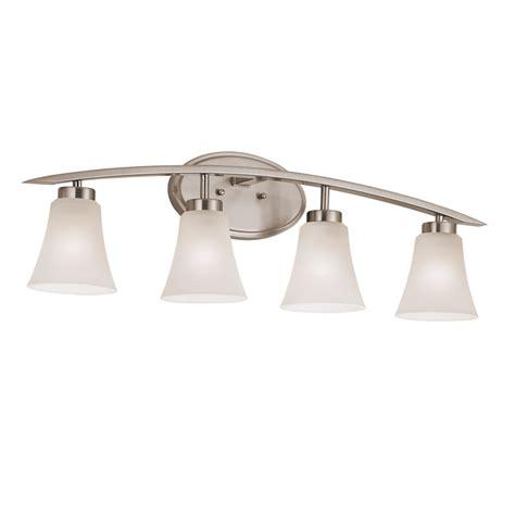 lowes bathroom light fixtures brushed nickel shop portfolio lyndsay 4 light 30 16 in satin nickel bell