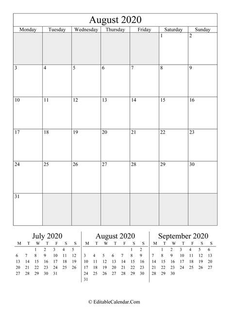 editable calendar august