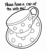 Tea Coloring Cup Pages Teapot Party Coffee Printable Template Mug Colouring Cups Drawing Boston Elvis Presley Sheets Teacups Drinking Teapots sketch template