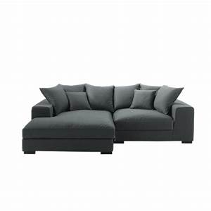 4 seater cotton corner sofa in grey bruges maisons du monde With nettoyage tapis avec canape angle cuir vintage