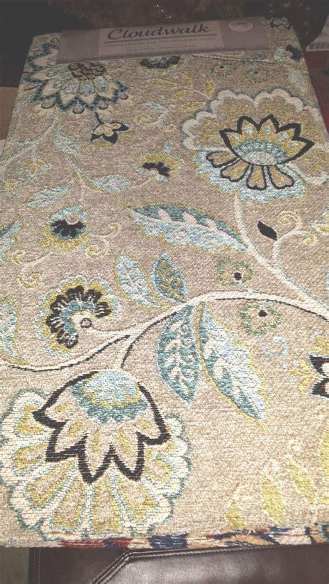 cloudwalk orthopedic foam rug tan blue flower
