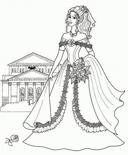 Coloring Pages Princess Colouring Drawing Barbie Princesses