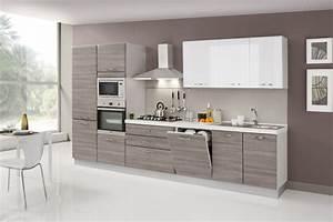 Cucina moderna bicolore con cappa in acciaio fiores mobili for Net cucine elsa