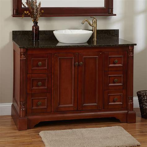 trevett vessel sink vanity cherry bathroom
