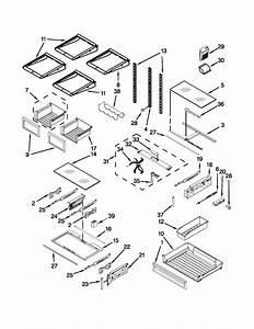Shelf Parts Diagram  U0026 Parts List For Model Kfiv29pcms00 Kitchenaid