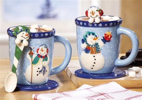 snowman holiday mug  spoon gift set christmas