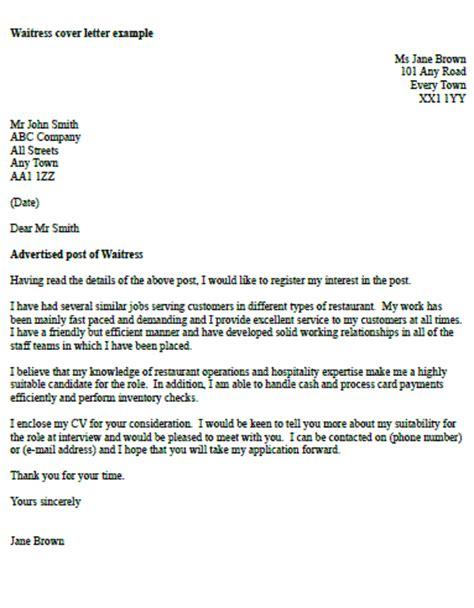 waitress cover letter exle icover org uk