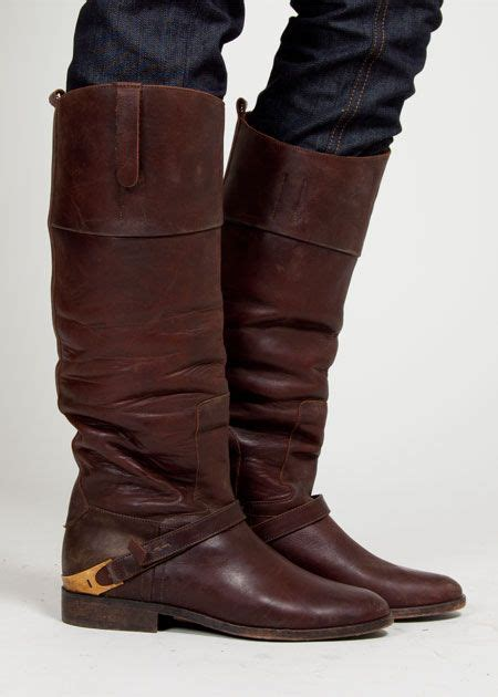 Cognac Distressed Over Grand Style Botas
