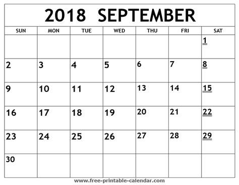 Blank Calendar September 2019 Template