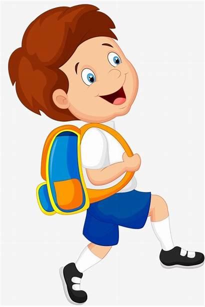 Boy Clipart Student Bag Kid Cartoon Carrying