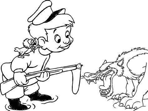 Angry Wolf And Peter Coloring Page Wecoloringpage com