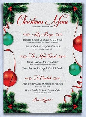 editable christmas menu template festival collections
