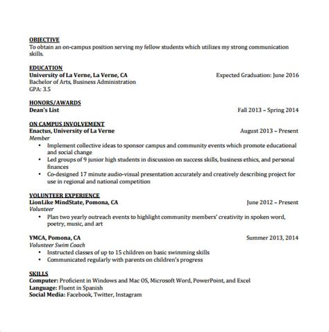 Undergraduate Student Resume Objective by Therapy Student Resume
