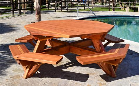 Outside Tables For Sale by Octagon Picnic Table Wood Picnic Table With Attached Bench