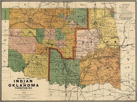 antique map  oklahoma  rand mcnally  company