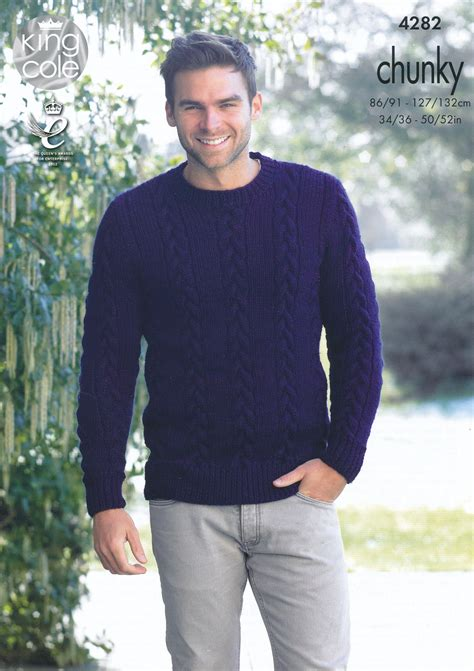 mens chunky knit sweater mens chunky knitting pattern king cole cable knit sweater