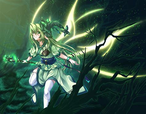 Anime Picture Long Hair Blonde Hair Green Eyes Magic Elf