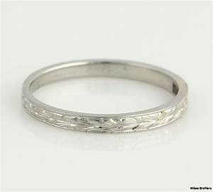 Vintage High Karat Womens Wedding Band 18k White Gold