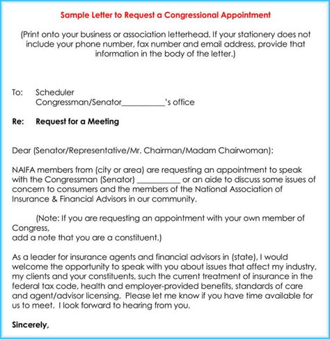 meeting appointment request letter  samples templ ates