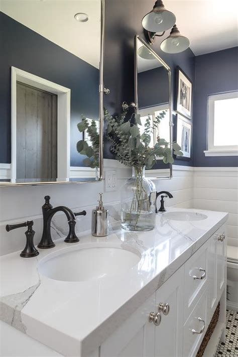 Navy Dual Bathroom Vanity with White Marble Top