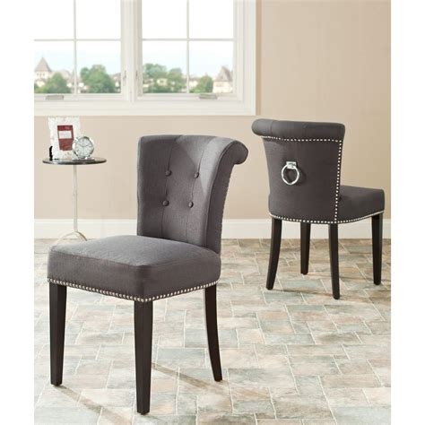 Safavieh Dining Chair by Safavieh Mercer Collection Carol Charcoal Linen Ring