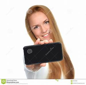 Business Woman Show Blank Mobile Cell Phone Stock Photo ...