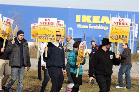 stoughton ikea workers picket  unionization