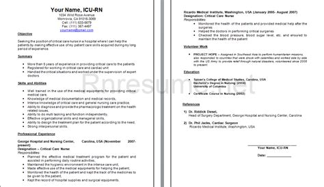 Icu Rn Resume by Rn Resume Bag The Web