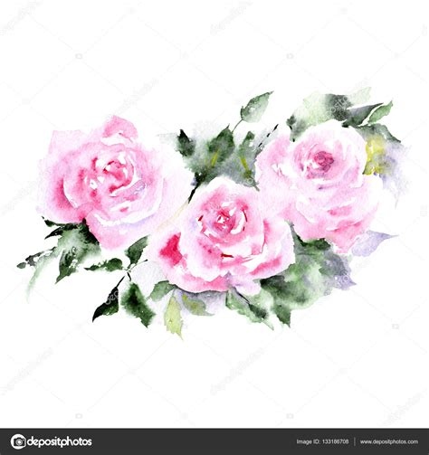 floral background watercolor roses floral border greeting