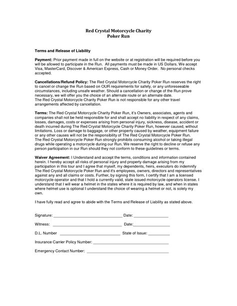 Liability Waiver Template Liability Release Form Template Free Printable Documents