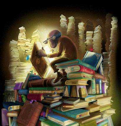 Reading Books Painting Animated Read Magical Writing