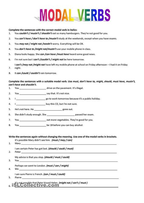 mixed modal verbs exercises pdf with answers worksheets
